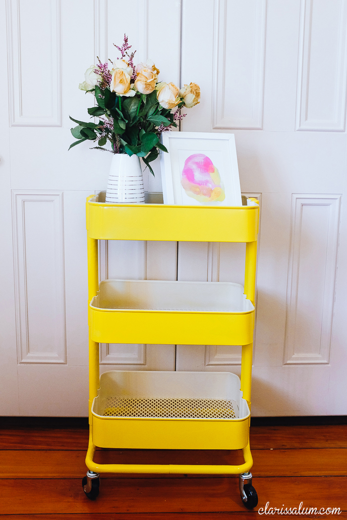 Yellow Ikea Raskog, More Photos: http://clarissalum.com/2014/07/painted-my-raskog-yellow/